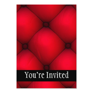 "Rich Red Leather Tuck & Roll Interior 5"" X 7"" Invitation Card"