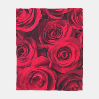 Rich Red Roses Fleece Blanket