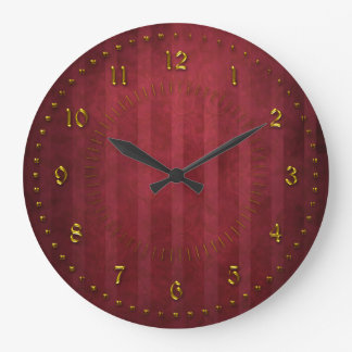 Rich Red Stripped Grunge Numbered Wallclock