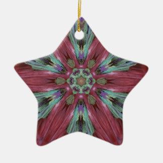 Rich Rose Teal Modern Artistic Pattern Ceramic Star Ornament