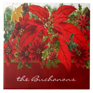Rich Seasonal Hues with Red Poinsettias Tile