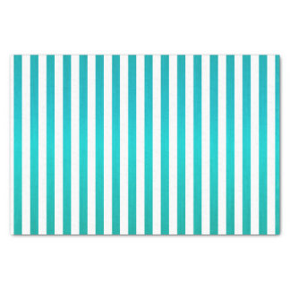 Rich Teal Blue and White Stripes Tissue Paper