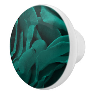 Rich teal blue-green velvety roses floral photo ceramic knob