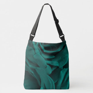 Rich teal blue-green velvety roses floral photo crossbody bag