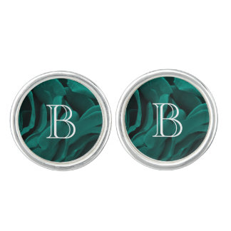 Rich teal blue-green velvety roses floral photo cufflinks