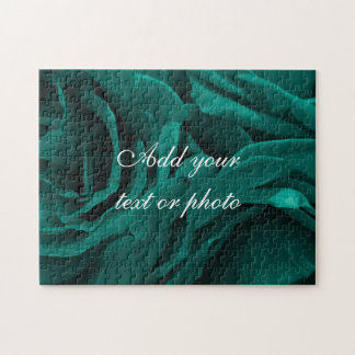 Rich teal blue-green velvety roses floral photo jigsaw puzzle