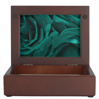 Rich teal blue-green velvety roses floral photo keepsake box