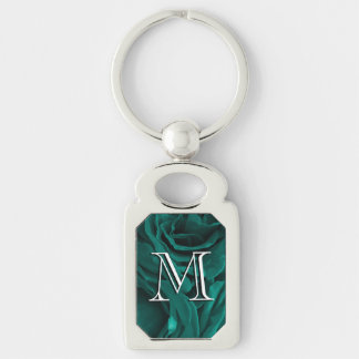 Rich teal blue-green velvety roses floral photo keychain