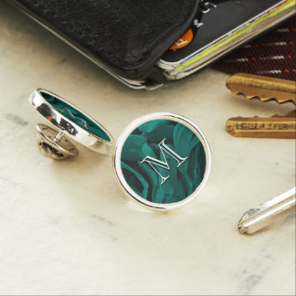 Rich teal blue-green velvety roses floral photo lapel pin