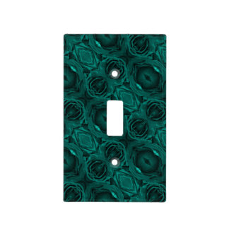 Rich teal blue-green velvety roses floral photo light switch cover
