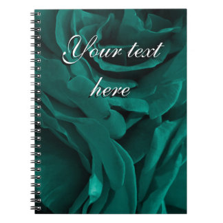 Rich teal blue-green velvety roses floral photo notebook