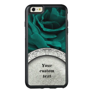 Rich teal blue-green velvety roses floral photo OtterBox iPhone 6/6s plus case