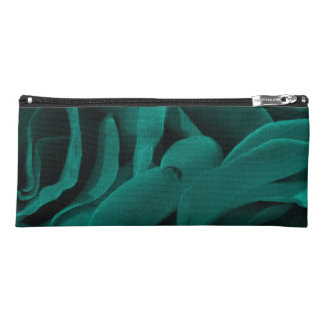 Rich teal blue-green velvety roses floral photo pencil case