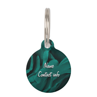 Rich teal blue-green velvety roses floral photo pet ID tag