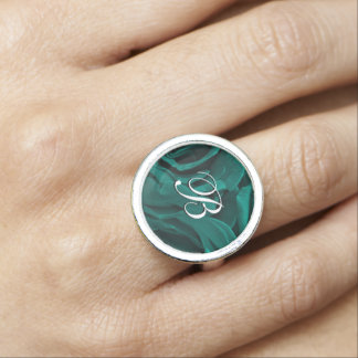 Rich teal blue-green velvety roses floral photo photo rings