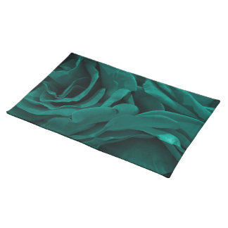 Rich teal blue-green velvety roses floral photo placemat