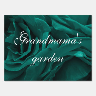Rich teal blue-green velvety roses floral photo sign