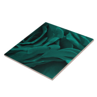 Rich teal blue-green velvety roses floral photo tile