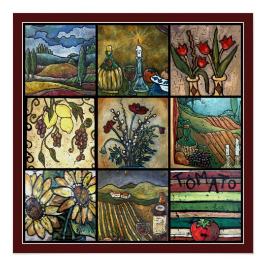 Rich Tuscan Collage Poster