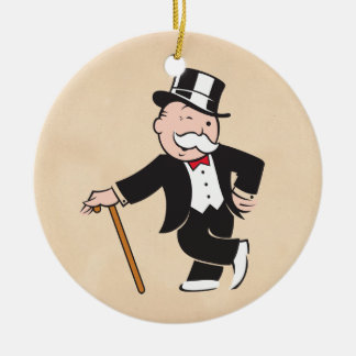 Rich Uncle Pennybags 3 Round Ceramic Ornament