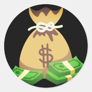 Rich Vibes   Bag of Money Emoji Classic Round Sticker