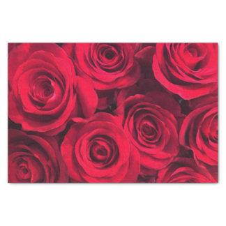 Rich Vivid Red Roses Tissue Paper