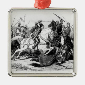 Richard III  at the Battle of Bosworth in 1485 Silver-Colored Square Ornament