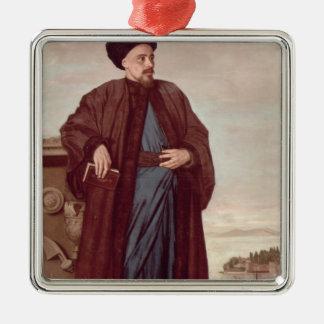 Richard Pococke in oriental costume, 1738 Silver-Colored Square Ornament