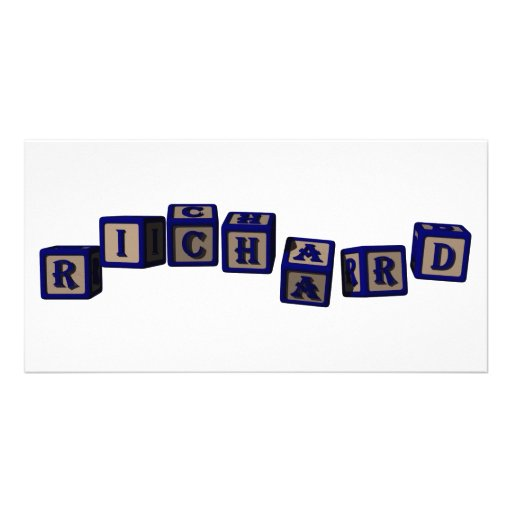 Richard toy blocks in blue photo card template