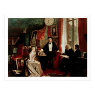 Richard Wagner with Franz Liszt and Liszt's daught Postcard