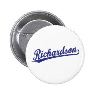 Richardson script logo in blue 2 inch round button