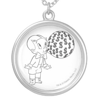 Richie Rich Blowing Bubble - B&W Silver Plated Necklace