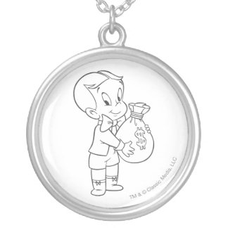Richie Rich Money Bag - B&W Silver Plated Necklace