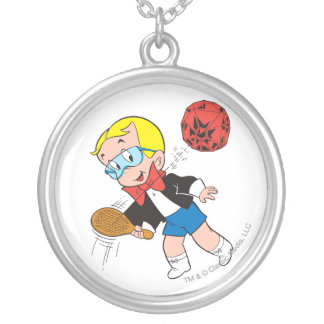 Richie Rich Paddle Ball - Color Silver Plated Necklace