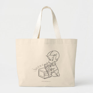 Richie Rich Playing with Toy - B&W Large Tote Bag