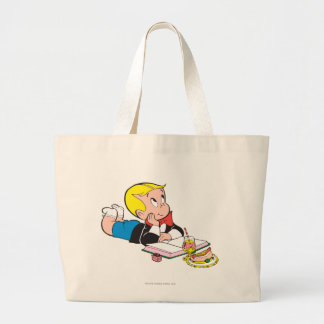 Richie Rich Studying - Color Large Tote Bag