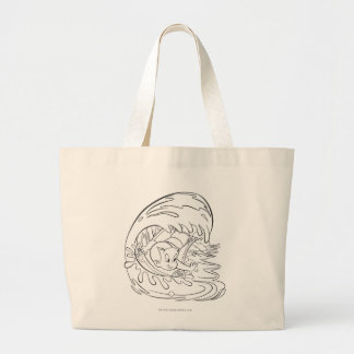 Richie Rich Surfing - B&W Large Tote Bag