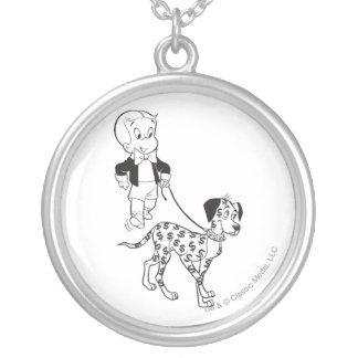 Richie Rich Walks Dollar the Dog - B&W Silver Plated Necklace