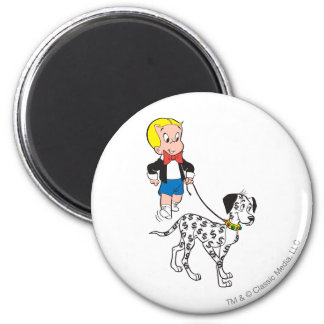 Richie Rich Walks Dollar the Dog - Color 2 Inch Round Magnet