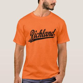 Richland script logo in black distressed T-Shirt