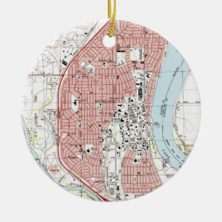 Richland Washington Map (1992) Ceramic Ornament