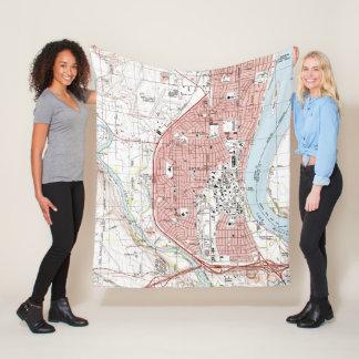 Richland Washington Map (1992) Fleece Blanket