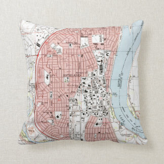 Richland Washington Map (1992) Throw Pillow