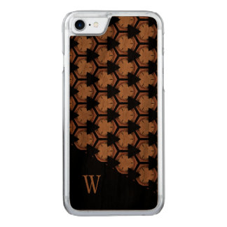 Richly Toned Pattern and Monogram Carved iPhone 8/7 Case