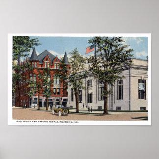 Richmond Indiana Post Office and Masonic Lodge Poster