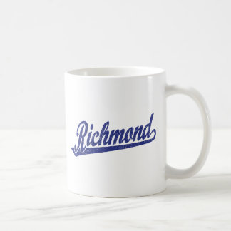 Richmond script logo in blue distressed coffee mug