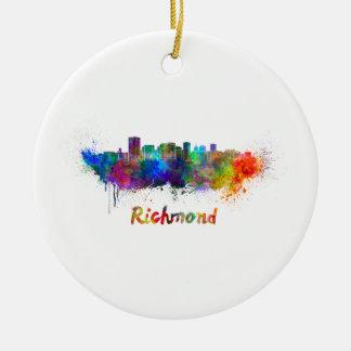Richmond skyline in watercolor ceramic ornament
