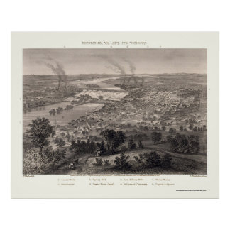 Richmond, VA Panoramic Map - 1863 Poster
