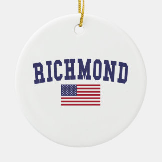 Richmond VA US Flag Ceramic Ornament
