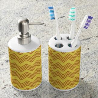 Rick Rack Pattern Soap Dispenser And Toothbrush Holder